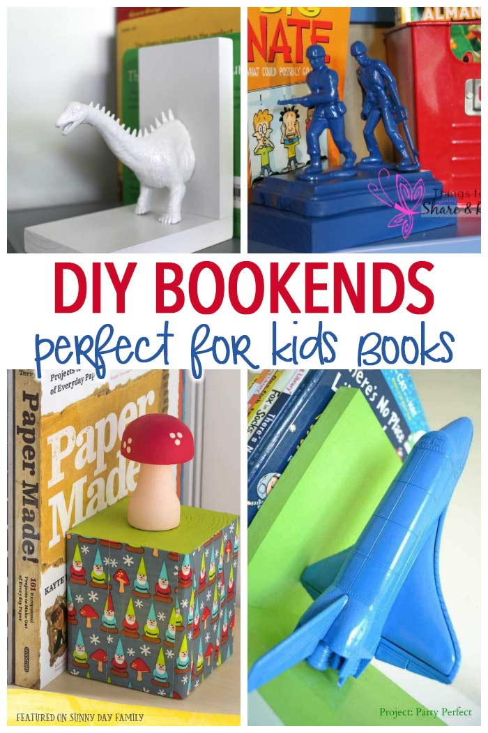 Organize childrens books with these awesome DIY bookends! 11 DIY bookends ideas perfect for your kids' room, playroom, or anywhere you need to store children's books. Love these easy DIY projects for little readers!