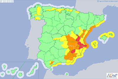 Aviso rojo por nevada España 19 enero. Aviso especial
