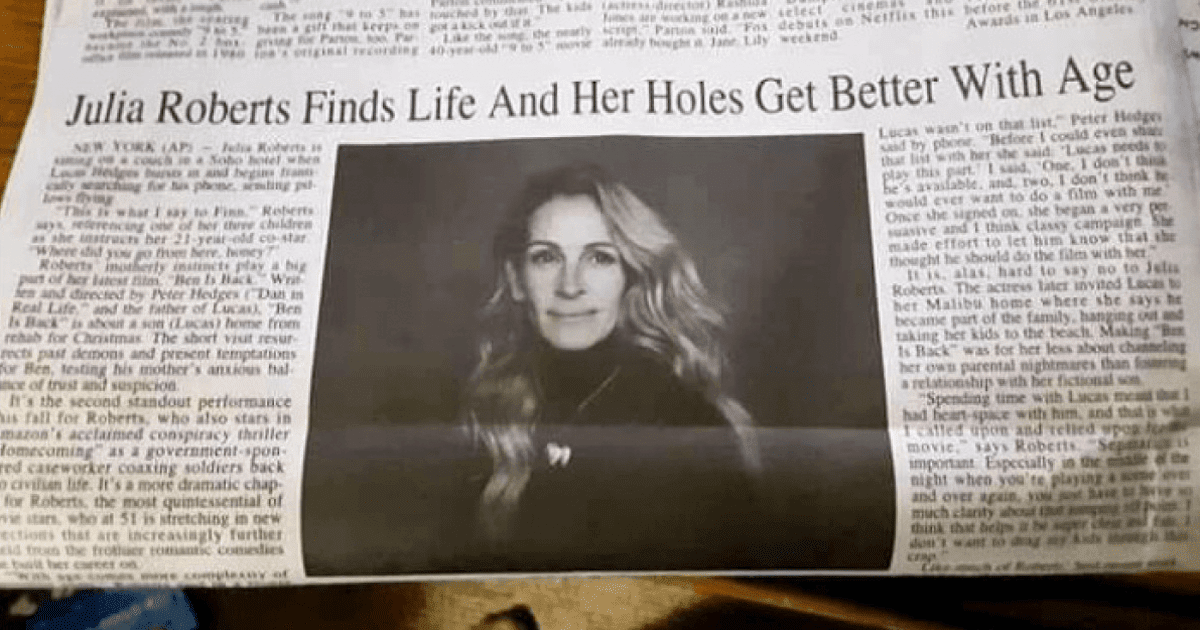 Newspaper Made An Awkward Typo On Julia Roberts' Headline, And The Internet Reacted Hilariously