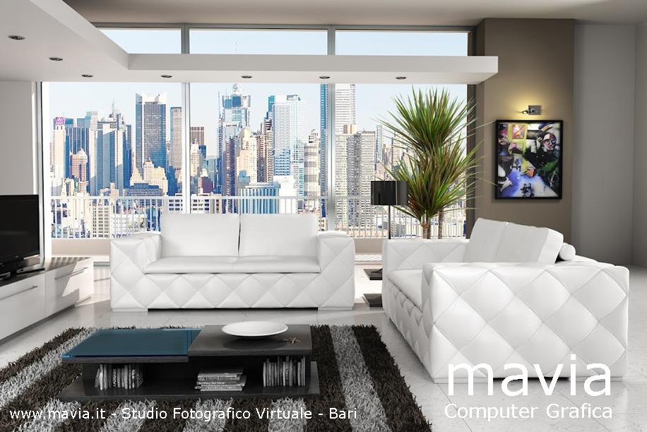 Arredamento di interni 3d modello divano sofa in pelle di for Divani bianchi moderni