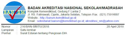 Download Edaran Pengisian Aplikasi DIA 2018