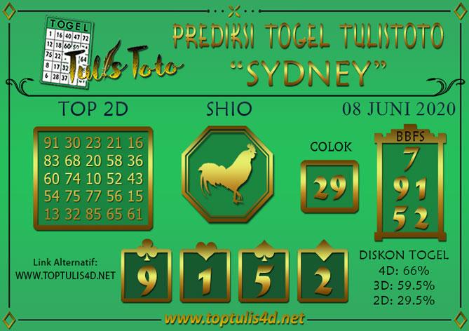 Prediksi Togel SYDNEY TULISTOTO 08 JUNI 2020