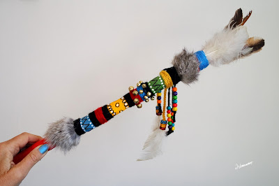 A Talking Stick is a beautifully decorated tool that is traditionally used by the Red Indians for communication.