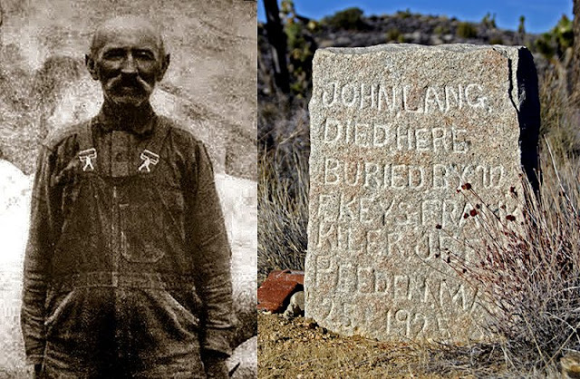 On the left is Johnny Lang, former owner of the mine. On the right is his headstone.