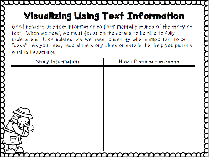 For some readers, visualizing seems to be done automatically. But for many, it's a challenge. This post includes tips, teaching ideas, and resources for helping kids visualize. FREEBIE INCLUDED.