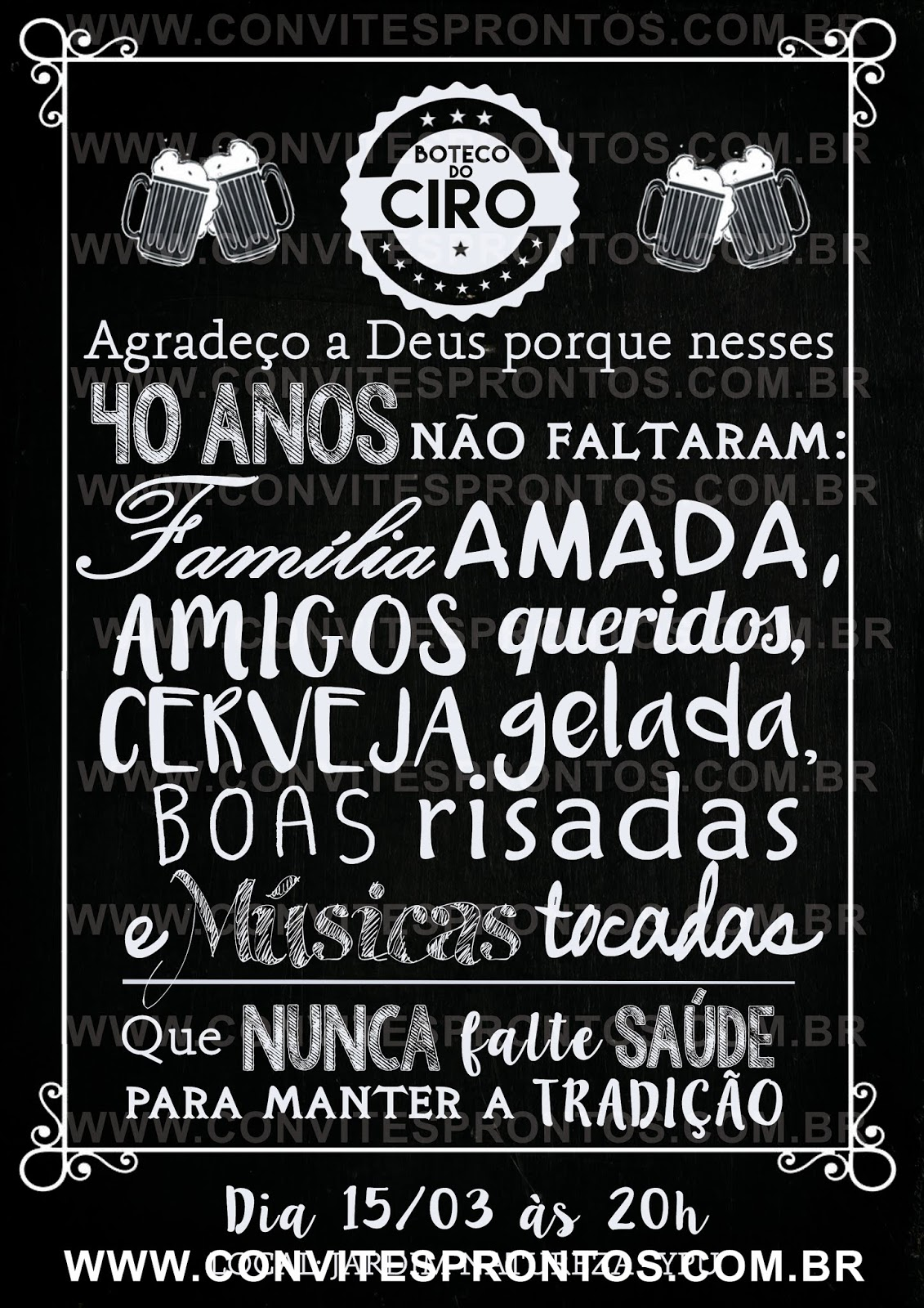 Convite De Aniversário Tema Churrasco Boteco Bar Buteco Convites