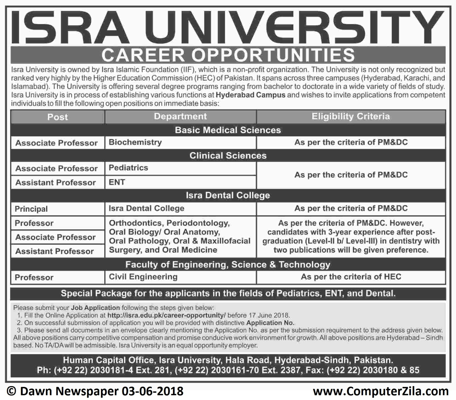 Career Opportunities at ISRA University