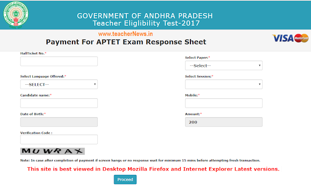 How to Download AP TET Response Sheet –Payment Option details