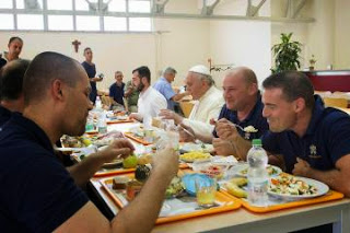 pope in canteen