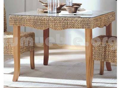 mesa comedor hecho en teca y rattan natural j938