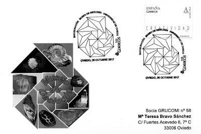 Tarjeta del Grucomi del matasellos del Museo de Geología