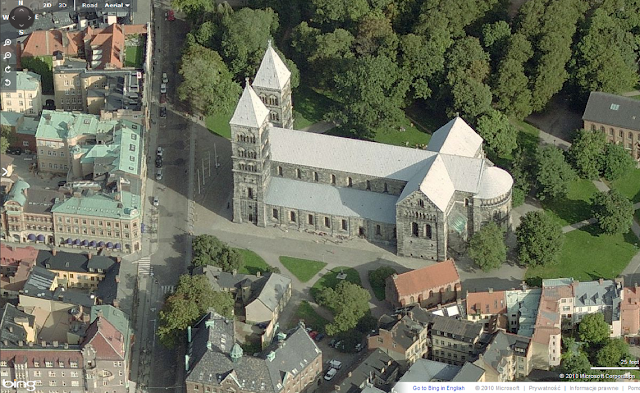 Katedra w Lund, XI-XIIw. w aplikacji Bird's Eye Bing Maps