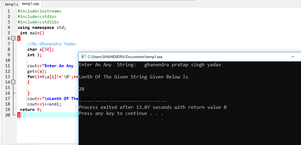 C++ Program To Find The Length Of String