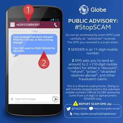 Globe Telecom releases advisory on text scams #StopSCAM
