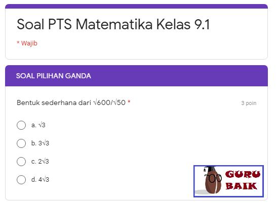 gambar contoh soal PTS matematika kelas 9