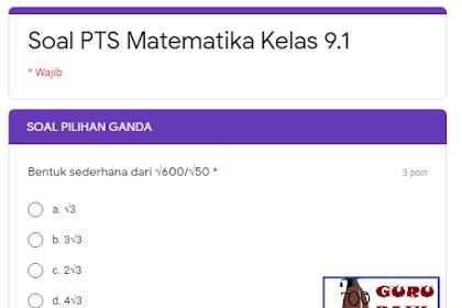 Contoh Soal PTS Matematika Kelas 9 SMP Versi Daring Semester Ganjil Tahun 2020/2021