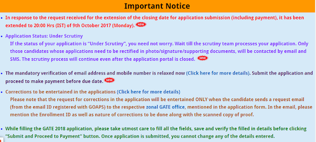 Gate Exam Notice