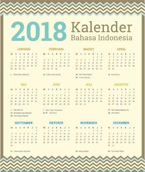 Kalender 2018 Lengkap dengan hari libur nasional dan bisa di edit