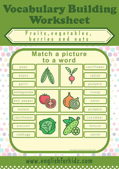 Fruits and vegetables worksheets for preschoolers