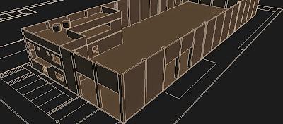 """Na fase de estudos do projeto, o corpo da administração era disposto em """"L"""", tendo sido concentrado junto da fachada na versão definitiva."""