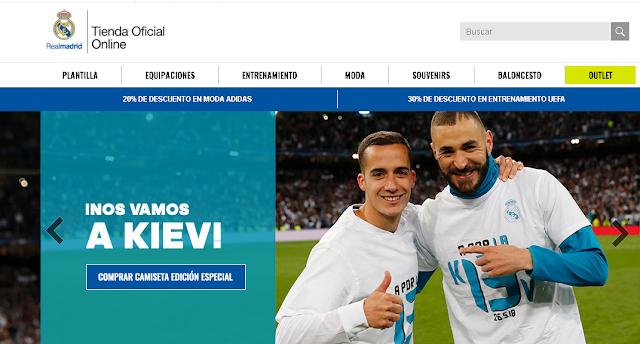 vista principal de la tienda on-line del Real Madrid