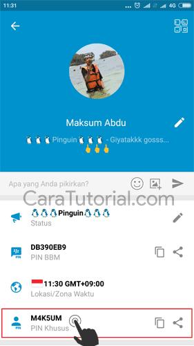 BBM Custom PIN tampil di profil
