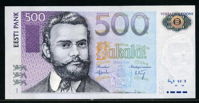Estonia money currency 500 Estonian krooni kroon banknote