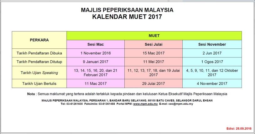 kalendar peperiksaan muet 2017