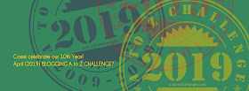 #AtoZChallenge 2019 Tenth Anniversary header
