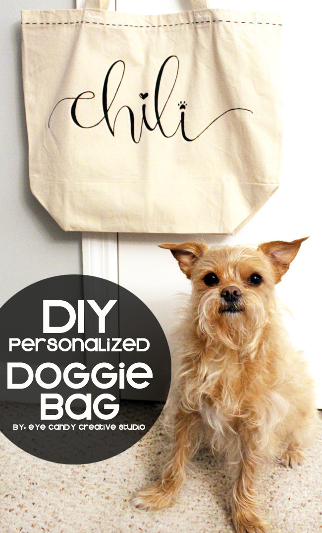DIY dog tote bag, hand lettering, DIY pet craft, puppy love, doggie bag