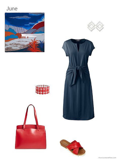 a navy dress with red accessories for summer