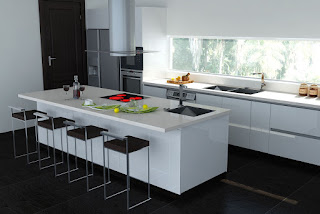 Dapur Modern Bertemakan Black And White Referensi Rumah