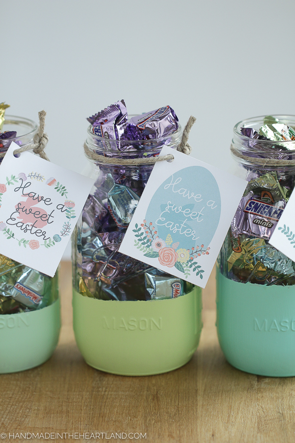 Easy Easter mason jar gifts with miniature candy