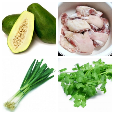 nguyên liệu nấu món canh gà hầm đu đủ xanh
