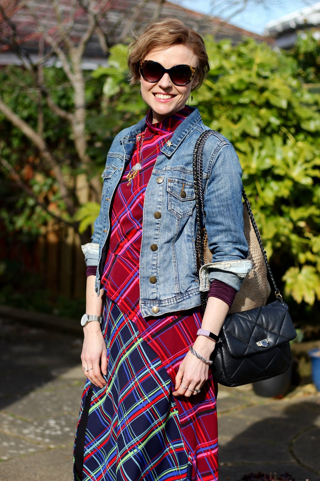 Tartan Dress, DMs and a Denim Jacket | Cold Weather Spring Outfit