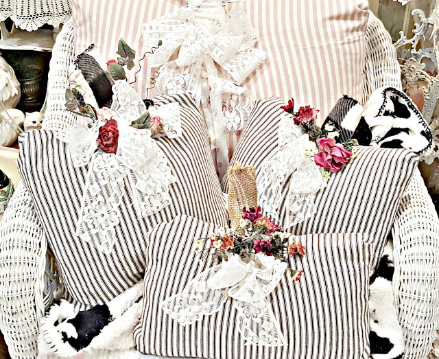 Ticking Stripe Pillow Pumpkins  by Penny's Vintage Home