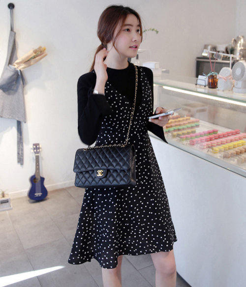 Dotted Deep V-Neck Sleeveless Dress