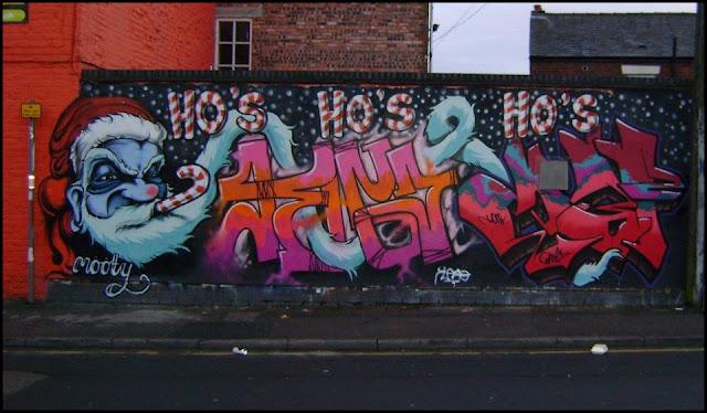 Graffiti weihnachtsmann, graffiti frohe weihnachten