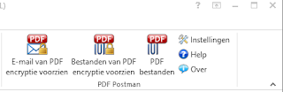 PDF Postman's email encryption buttons displayed in Dutch language.