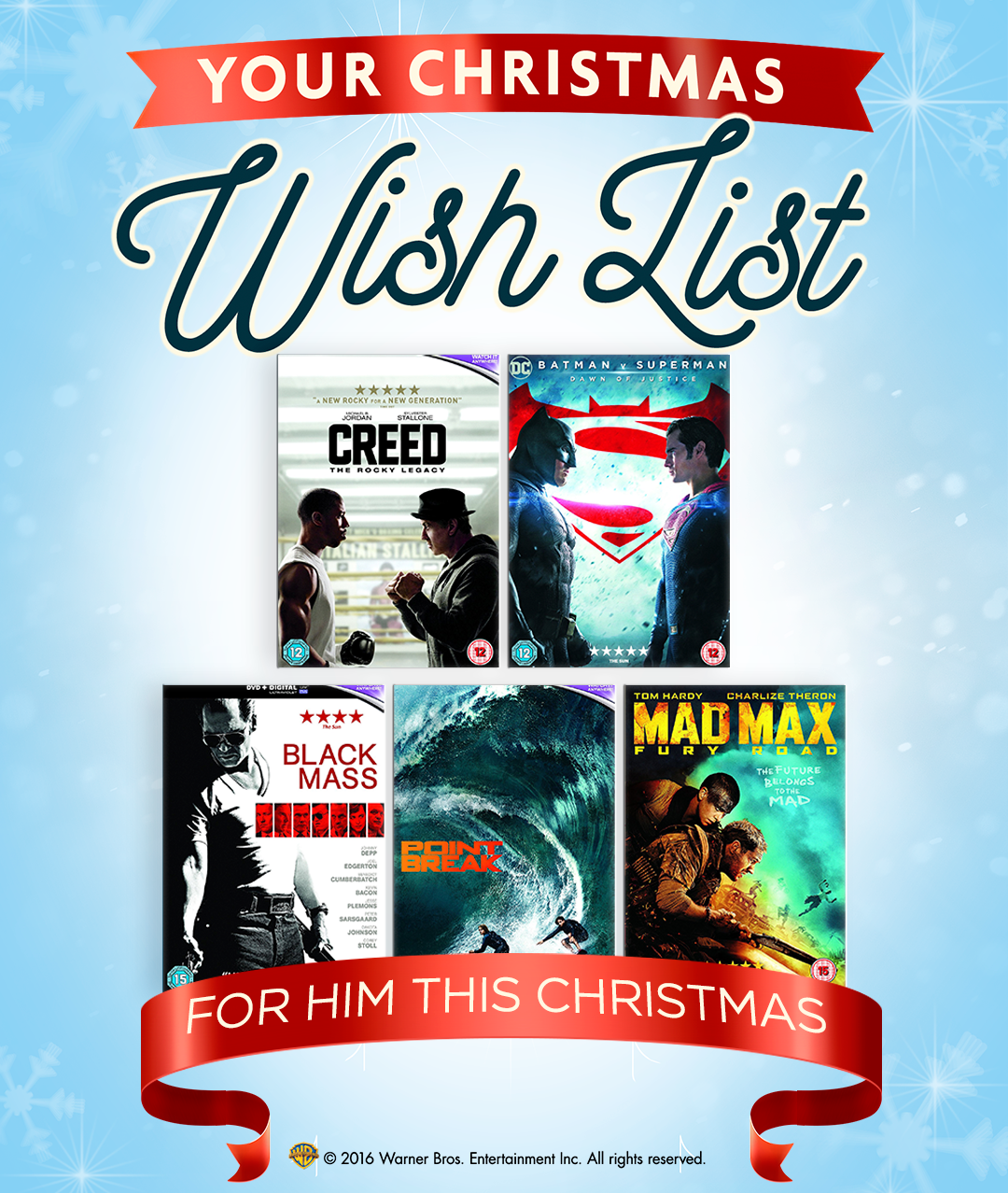 DVDs for him for Christmas