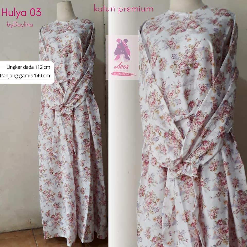 Gamis hulya katun premium motif ros flower warna-warni