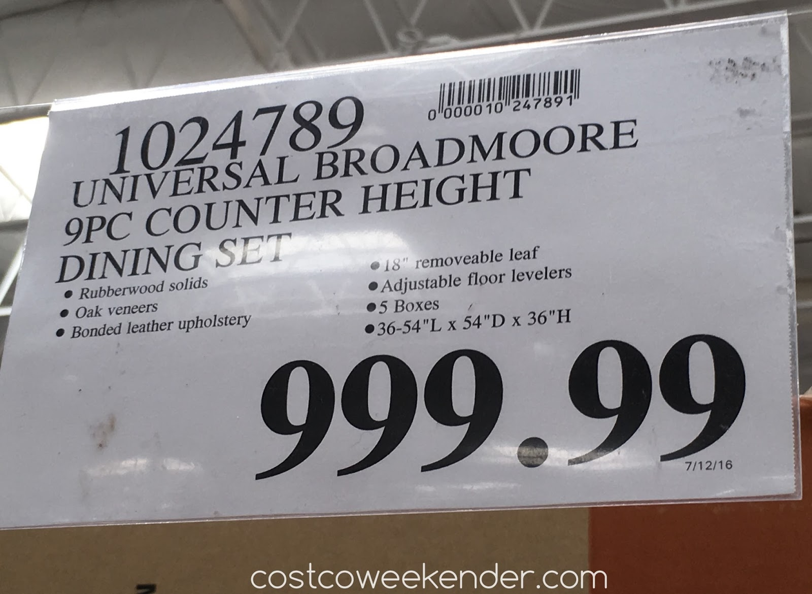 universal furniture broadmoore 9pc counter height dining set costco 1024789 deal for the universal broadmoore counter height dining set at costco