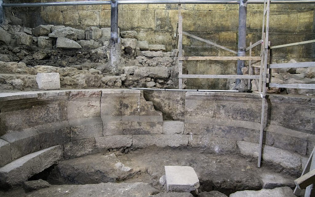 New stone courses, Roman theatre uncovered at base of Jerusalem's Western Wall