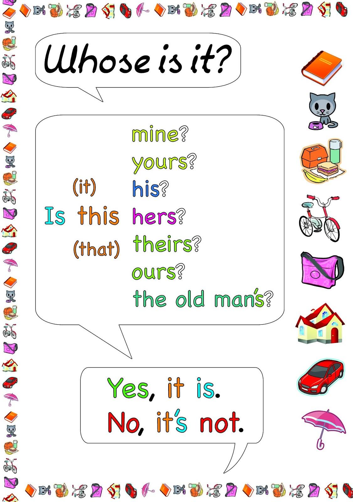New Possessive Pronoun Grammar Exercises