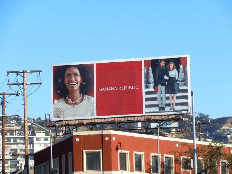 Banana Republic snowy Holidays billboard