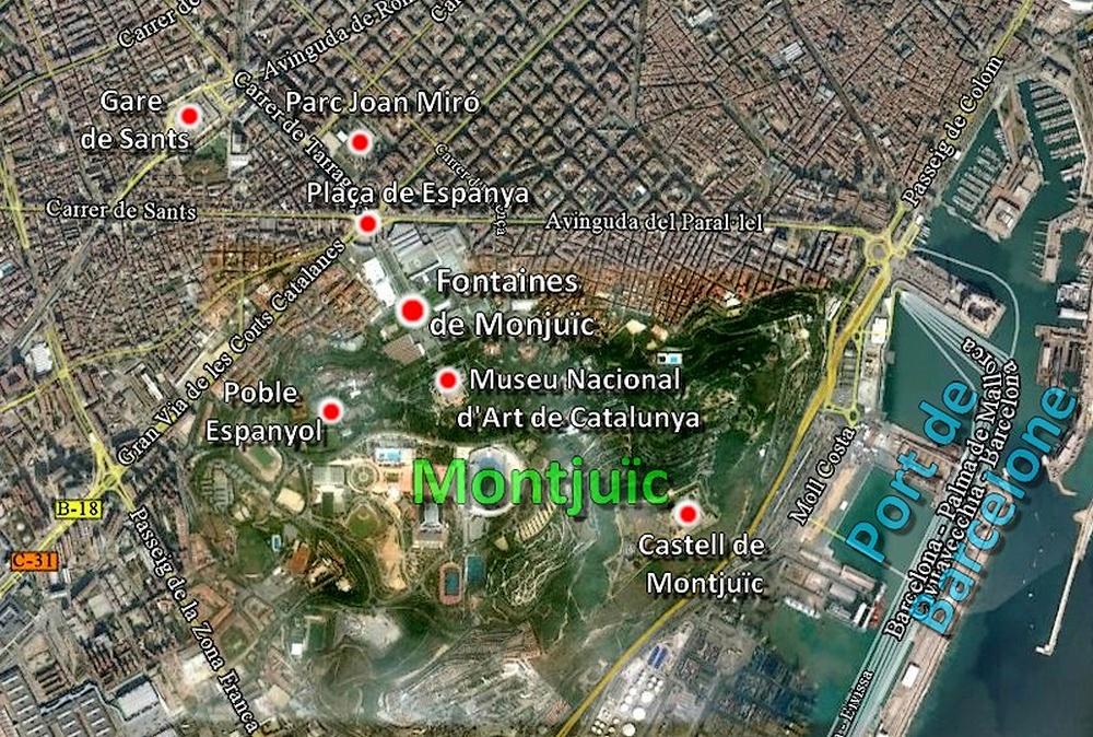 Carte Barcelone Place Despagne.Coins Du Monde Espagne Catalogne Les Fontaines Du Montjuic De