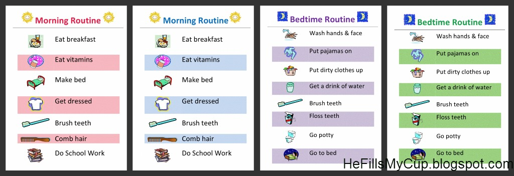 Free printable morning  bedtime routine charts that you can edit also he fills my cup rh hefillsmycupspot