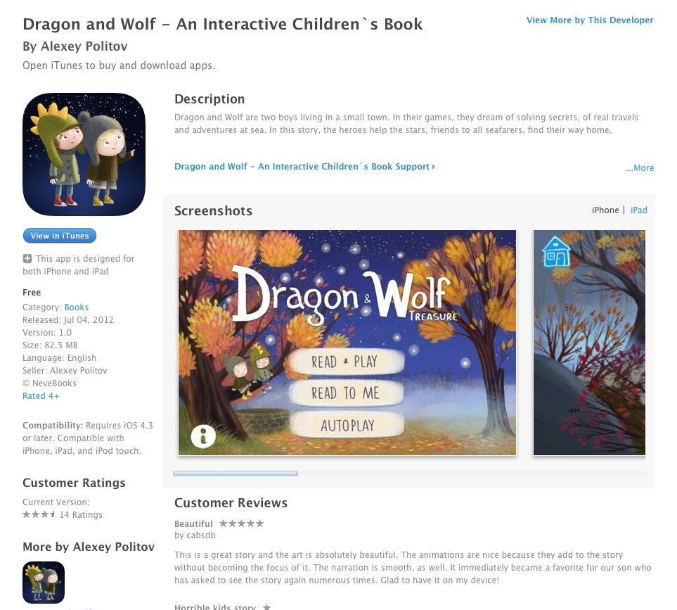 Free iOS App Today: Dragon and Wolf - An Interactive Children`s Book