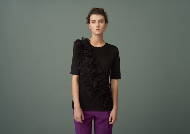 Finery Charteris Woven Ruffle Front Jersey Tee