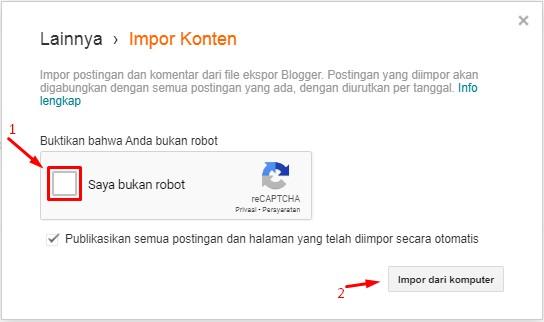 Cara Upload Artikel Backup di Blogspot